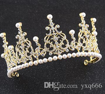 Bridal tiara birthday big crown pearl Korean jewelry style with makeup wedding wholesale