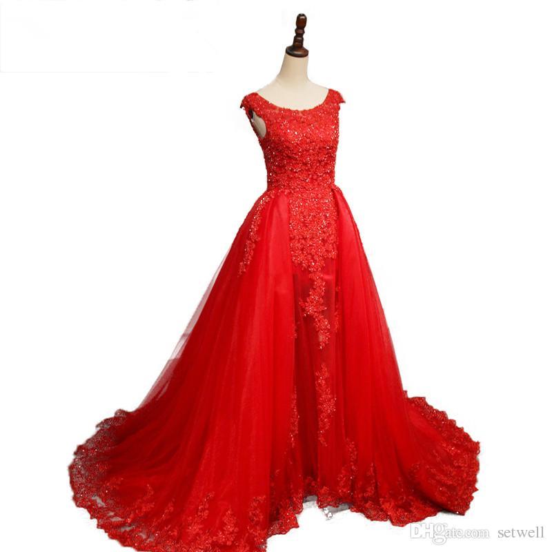 2018 setwell 빨간색 레이스 라인 웨딩 드레스 뜨거운 판매 보석 스위프 기차 국가 웨딩 드레스 사용자 지정 비즈 플러스 크기 신부 드레스