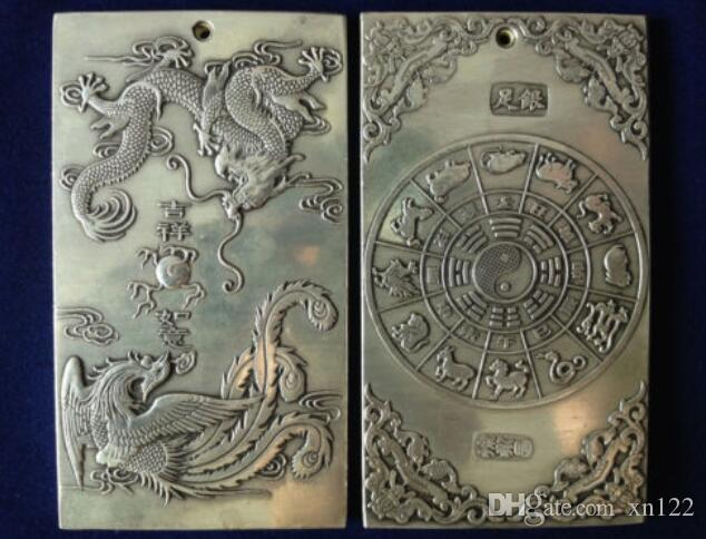 Elaborar chino antiguo tibetano plata dragón Phoenix estatua amuleto auspicioso placa