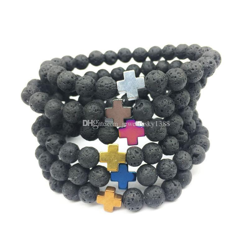 Men's Hematite Cross 8mm Black Lava Stone Bracelet DIY Aromatherapy Essential Oil Diffuser Bracelet Women Men jewelry