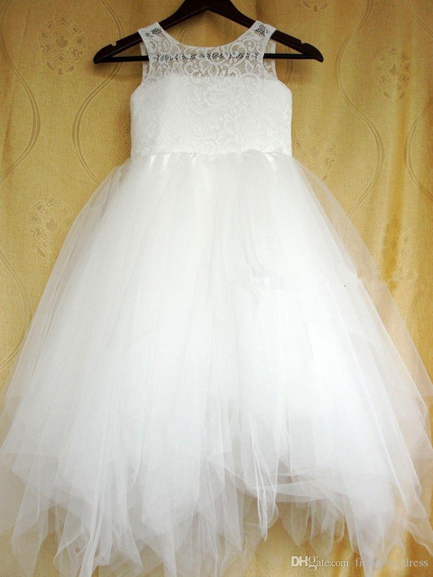 Scoop Lace Tulle Toddler A Line Flower Girl Dresses New Wedding Party Pageant Gowns Real Picture Hollow Modern Fashion Tiered Floor Length