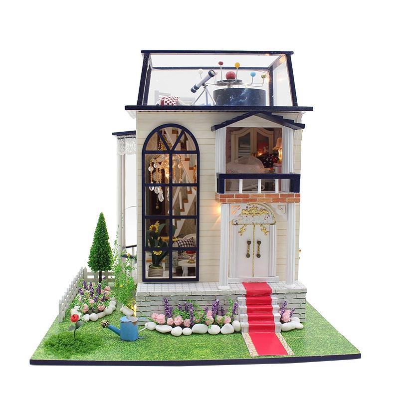 Diy miniatura de madera casa de muñecas Kits de muebles juguetes hechos a mano Craft modelo miniatura Kit DollHouse juguetes regalo para niños 13837
