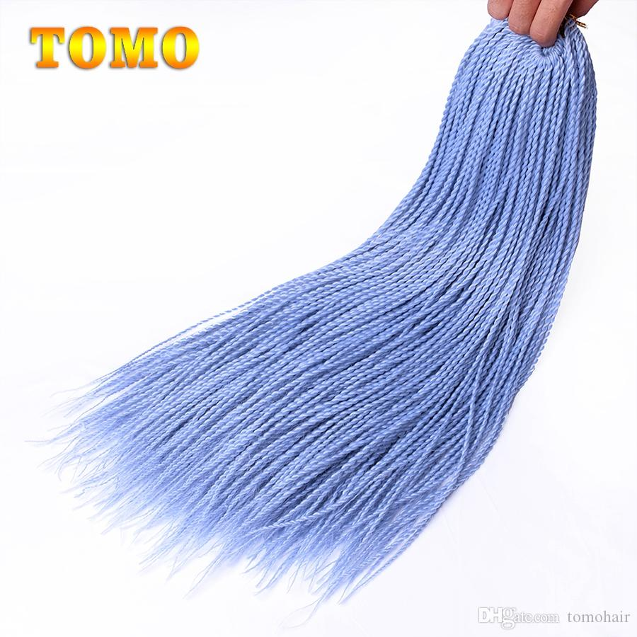 TOMO Senegalese Twist 24 inch long Pure/ombre pink green blue Crochet Braids Kanekanlon Synthetic Hair Extensions For Woman 30 Roots/Pack