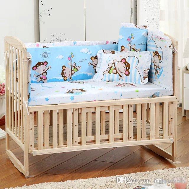2018 5 Pcs / sets 아기 beding 세트 Animal Baby Crib Set 품질 인쇄 커튼 어린이 침대 범퍼 100 * 60cm 빨 아기 침대 범퍼