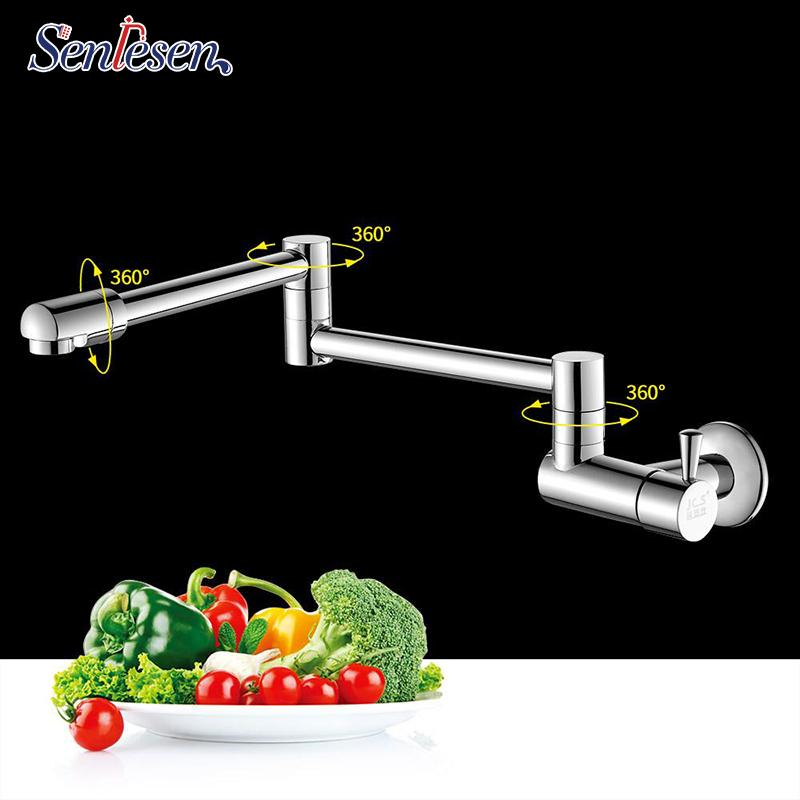 wholesale Kitchen Faucet Wall Mount Single Handle Single Cold Water Tap Chrome/ Gold/ Nickle/ ORB 360 Rotation Basin Faucets
