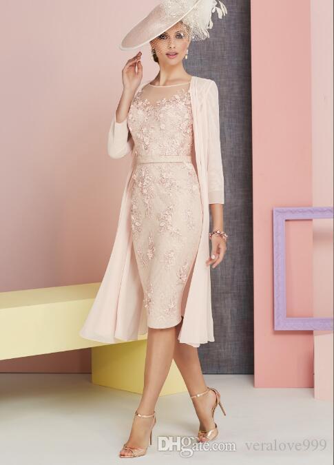 Belle mère des robes de mariée avec veste soirée porter Sheer Bateau manches 3/4 en dentelle de tulle appliques florales robes de soirée