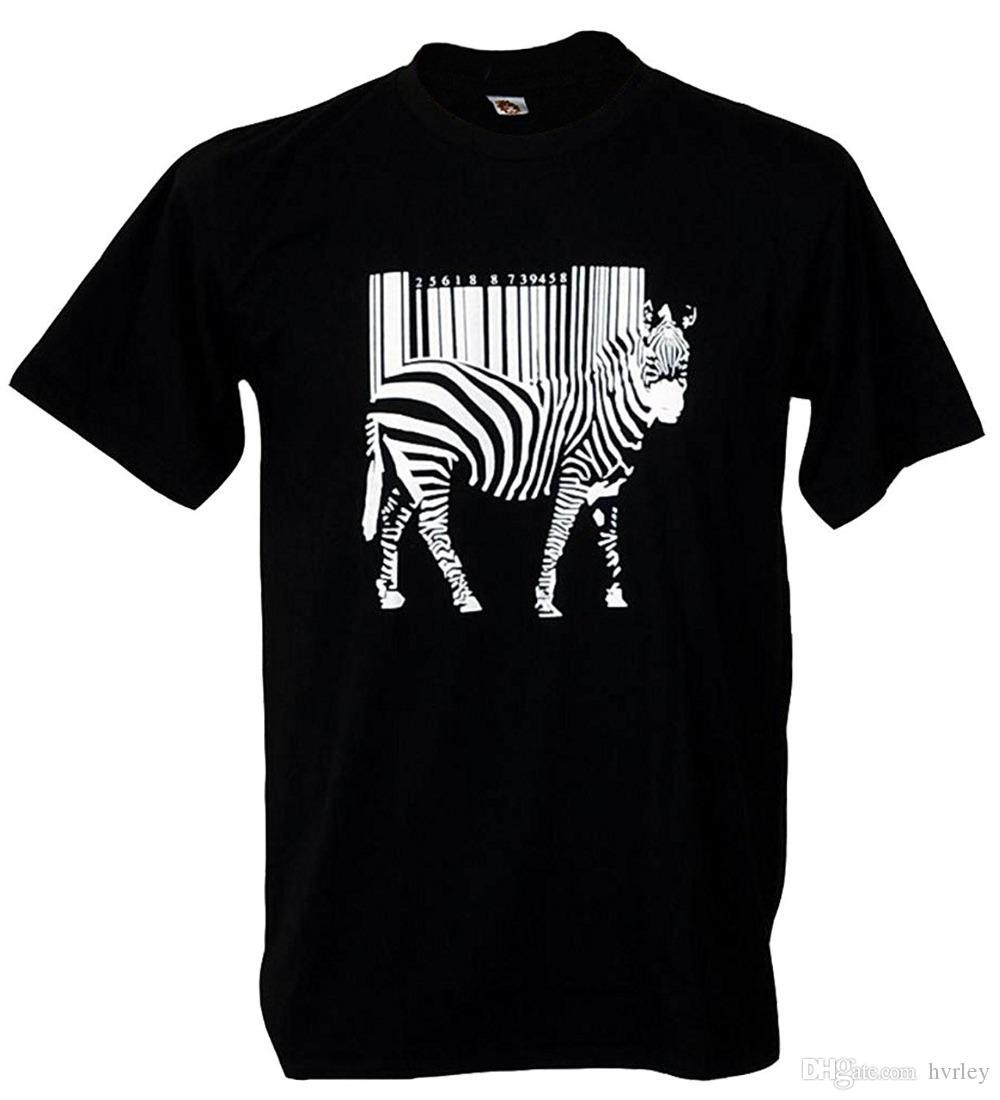 2018 Fashion casual streetwear Tshirtmystyle- Zebra Barcode Zoo Street Art Men's T-shirt White Print Tops Tee Shirt hip hop