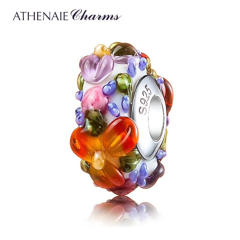 ATHENAIE Murano Glass 925 Silver Core Hawaiian Maui Floral Lei Charm Bead Fit pulsera y collar de moda joyería de bricolaje