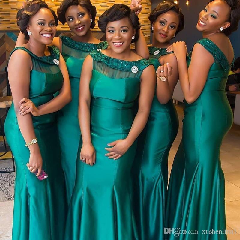 Ciemnozielone Nigerii Druhna Dresses South African Syrenka Bateau Neck Sleeveless Maid of Honor Suknie Wspaniałe czarne dziewczyny