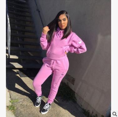 여성 바지 정장 809 s-xl 두꺼운 옷 편지 자수 스포츠 캐주얼 2 피스 핑크 까마귀 스트레이트 바지 의상 tracksuits