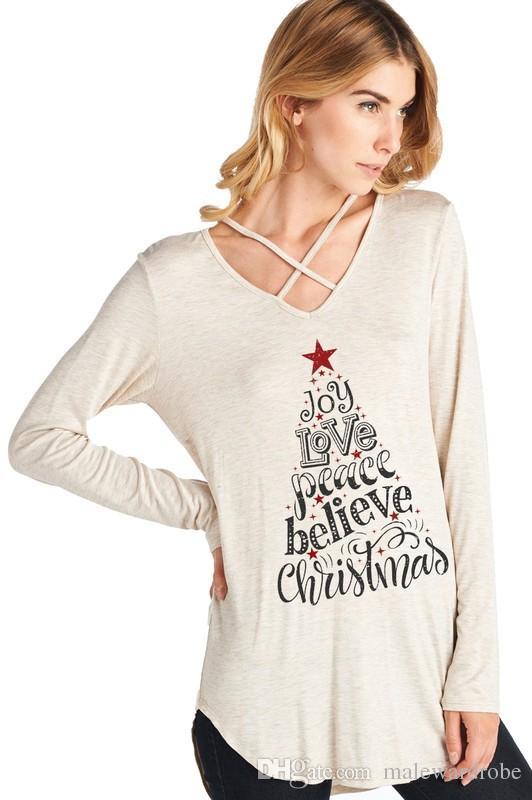 Damska koszulka Joy Love Peace Xmax Tshirts dla kobiet Luźne Casual Wiosna Jesienne Topy Długie Rękaw Tees
