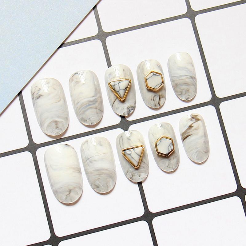 24 pçs / set 3D gemstone embelezamento tinta vento mármore pequeno redondo prego falso, tamanho médio-longo completo unhas dicas, senhora ferramenta noiva