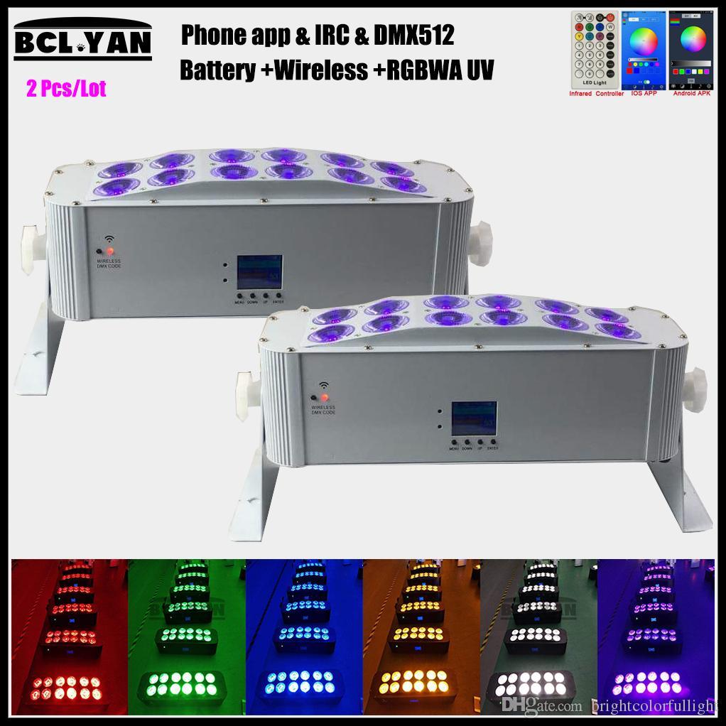 Hot Sell DJ Uplight 12pcs*18W RGBAW 6 In1 LED Battery Powered Wireless DMX LED Wash light Wifi remote control 2pcs/lot