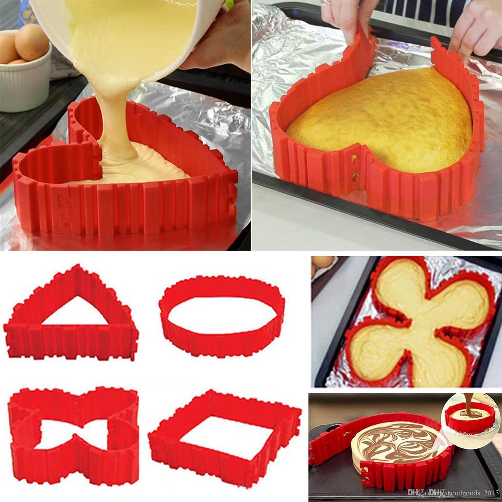 4 Pcs/set Silicone bakeware Magic Snake cake mold DIY Baking square rectangular Heart Shape Round cake mould pastry tools b932