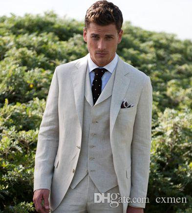 Summer Linen Ivory Men Suits for Wedding Handsome Groom Tuxedos Slim Fit Suits for Groomsmen Blazer Men Prom Party 3 Pieces
