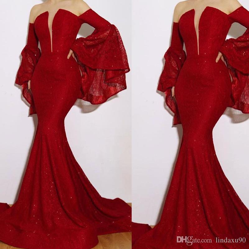 Sirène rouge robes de soirée chérie décolleté perles perles à manches longues parole longueur robes de bal robes de soirée