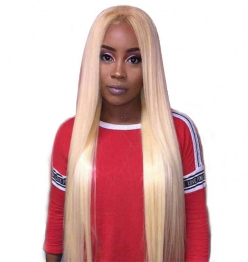 Blonde Full Lace Wigs Indian Straight Human Hair Lace Front Wig Pre Plucked 613 Wig with Baby Hair
