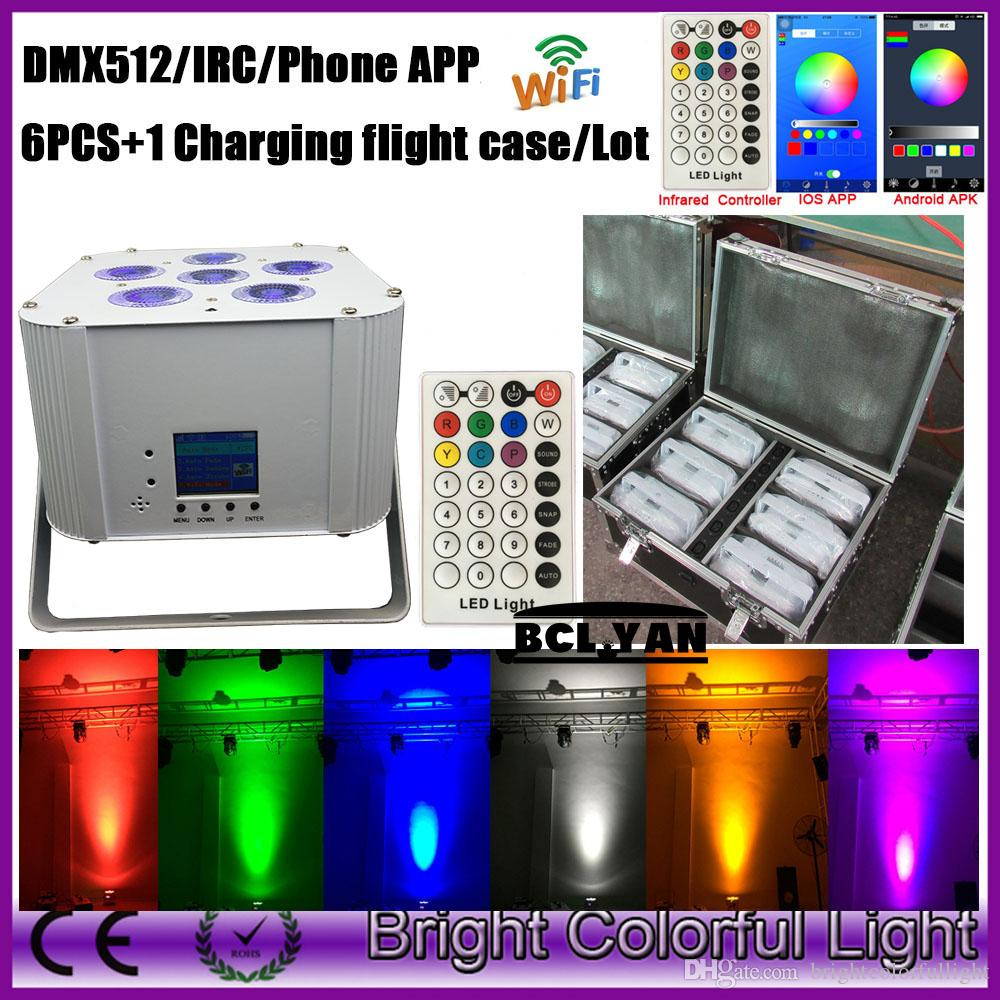 RGBWA UV Wireless DMX Smart Par Light Battery Powered WiFi Uplight With iOS & Android Control LED Stage Wedding Event Lighting
