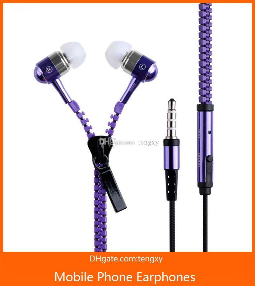 молния наушники наушники-вкладыши 3,5 мм с микрофоном cremallera гарнитура наушники для iphone проводные наушники для телефона