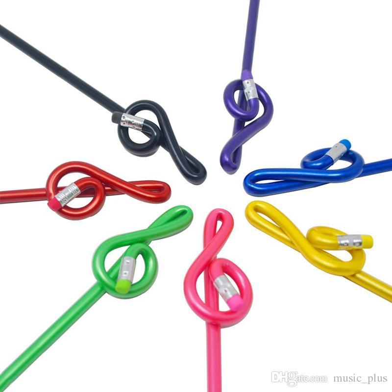Müzik tiz bükülmüş kalemler g clef kalem okul kırtasiye gökkuşağı renk paketi 7 adet hediyeler
