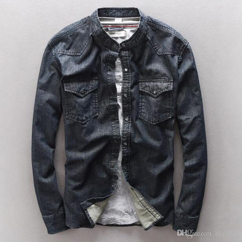 Мода хлопок джинсовая рубашка мужчины бренд одежда мандарин воротник рубашки Мужские ретро стиральная темный slim fit мужская рубашка