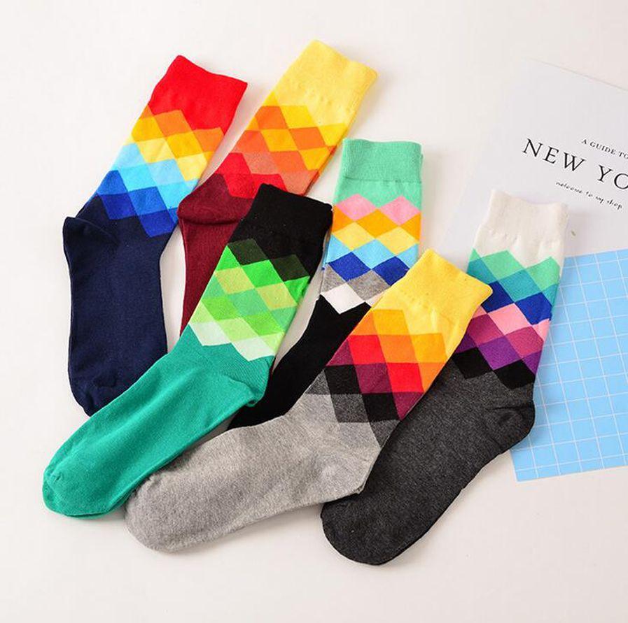Meias de algodão masculinas - Outono e inverno moda xadrez meias - colorido diamante feliz vestido meias homens tamanho