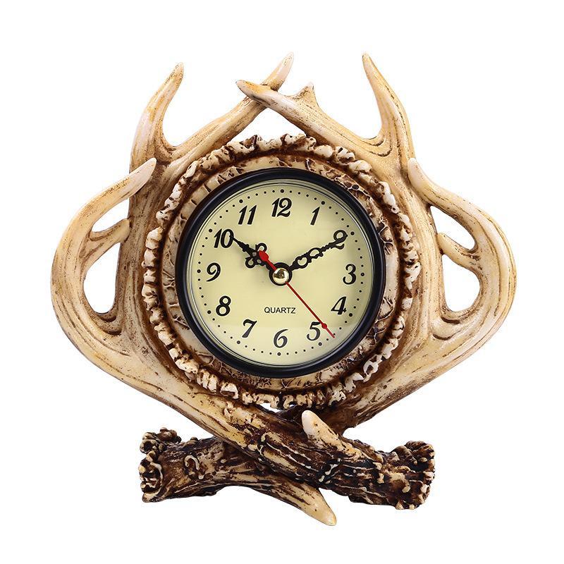 Yaratıcı Geyik Boynuz Tasarım Reçine Masa Saati-Amerikan Country Tarzı Vintage Masa Masa Saati-Oturma Odası Ev Ofis Dekor