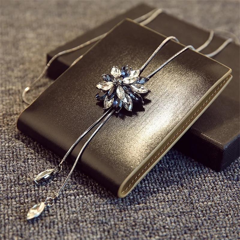 Byspt Cyrkon Snowflake Długi Naszyjnik Sweter Łańcuch Moda Drobny Metalowy Łańcuch Kryształ Rhinestone Kwiat Wisiorek Naszyjniki Regulowane