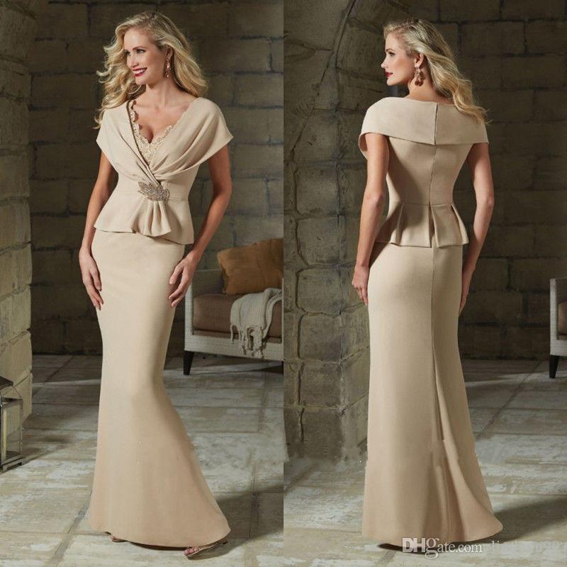 Elegant Lace Mother Of The Bride Dresses Formal Evening Gowns V Neck Sheath Wedding Guest Dress