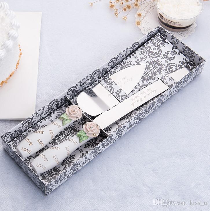 2018 Party Decoration Stainless Steel Wedding Cake Knife and Server Set Flower Love Handle Party Decoration