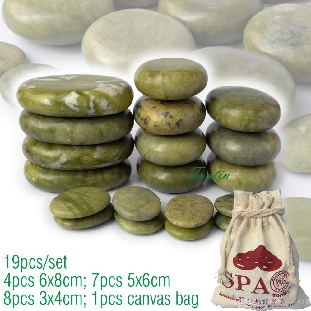 nuovo 19 pz / set verde massaggio del corpo di giada pietra calda SPA con tela CE e ROHS 7 pezzi (5x6) + 4 pezzi (6x8) +8