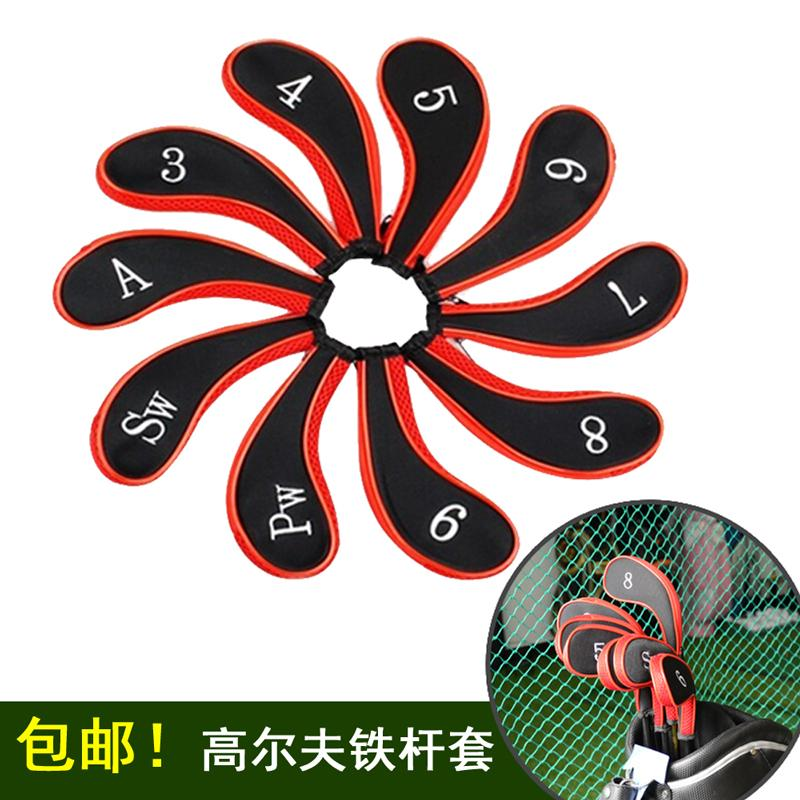 10 pcs/set Golf Club Iron Putter Head Cover Protect Set Neoprene HeadCovers Zipper design