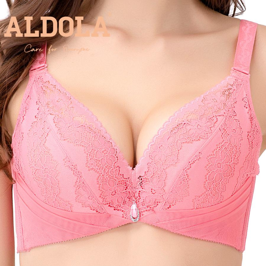Оптовая sexy глубокий V Sexy women push up bra bralette бюстгальтер боковая регулировка нижнее белье розовый кружева DYW163353
