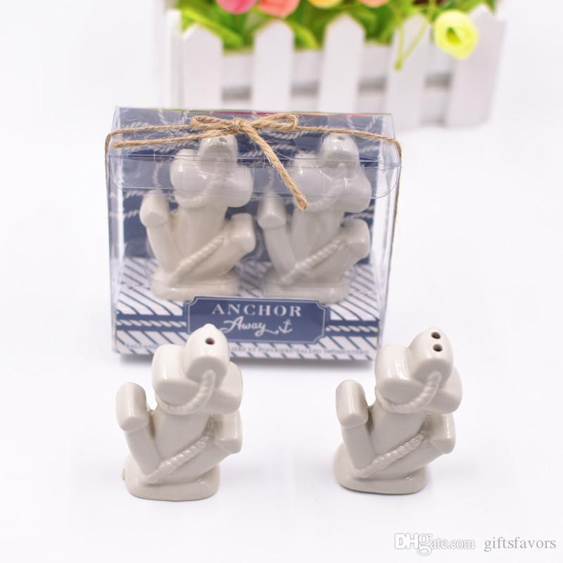 Ceramic anchor design ceramic salt and pepper shakers wedding gifts for guests souvenirs 50set lot free shipping