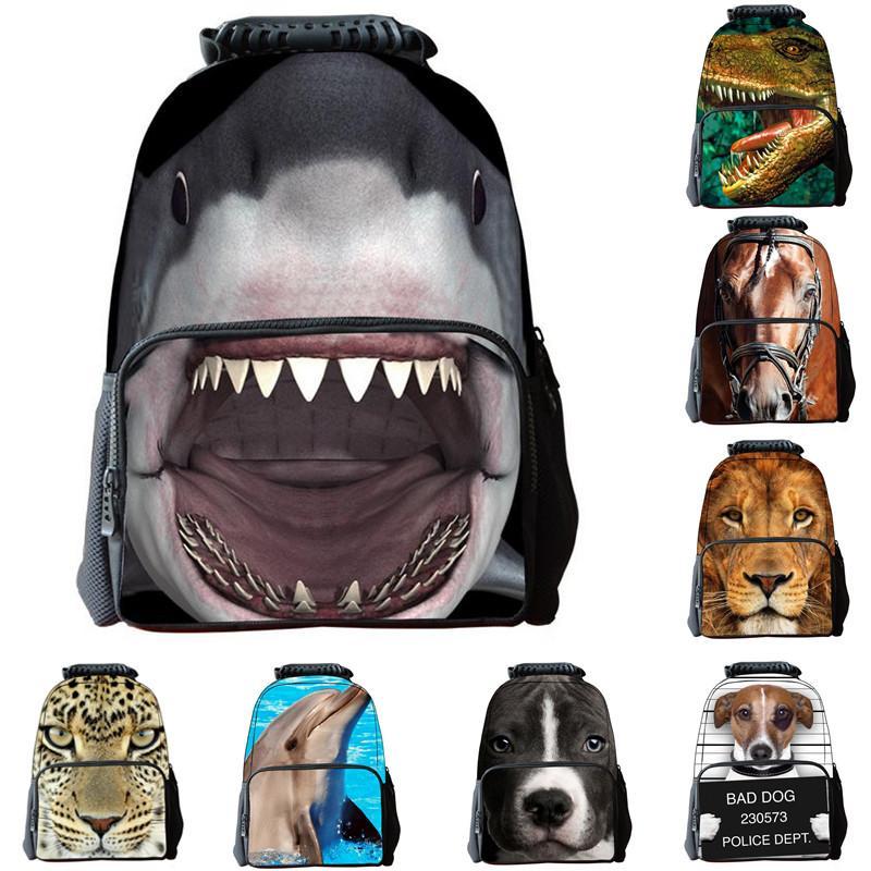 Çocuk Okul Çantaları 3D Hayvan Köpekbalığı Sırt Çantaları Dinasour Kaplan Kartal Sırt Çantaları Erkek Okul Çantalarını Seyahat Çantaları 17 inç