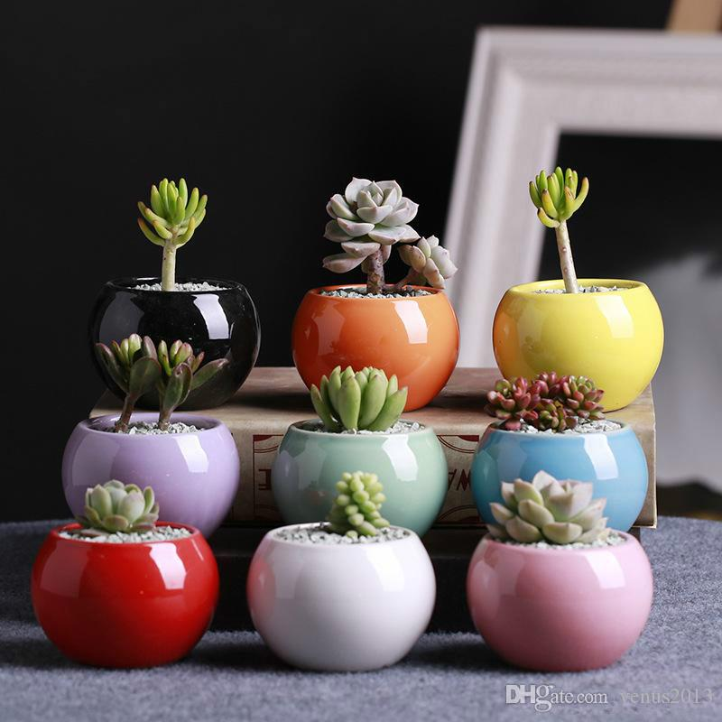 Ceramic Pots Succulents Flower Pot Small Ball Round White Porcelain White Color Mini Creative Free Shipping