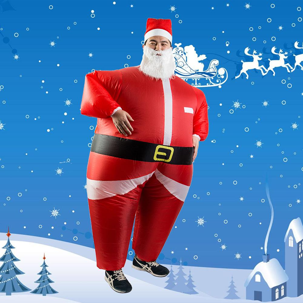 HOT Santa Claus Snowman Inflatable Suit Christmas Party Costume Clothes Xmas Beard Hat