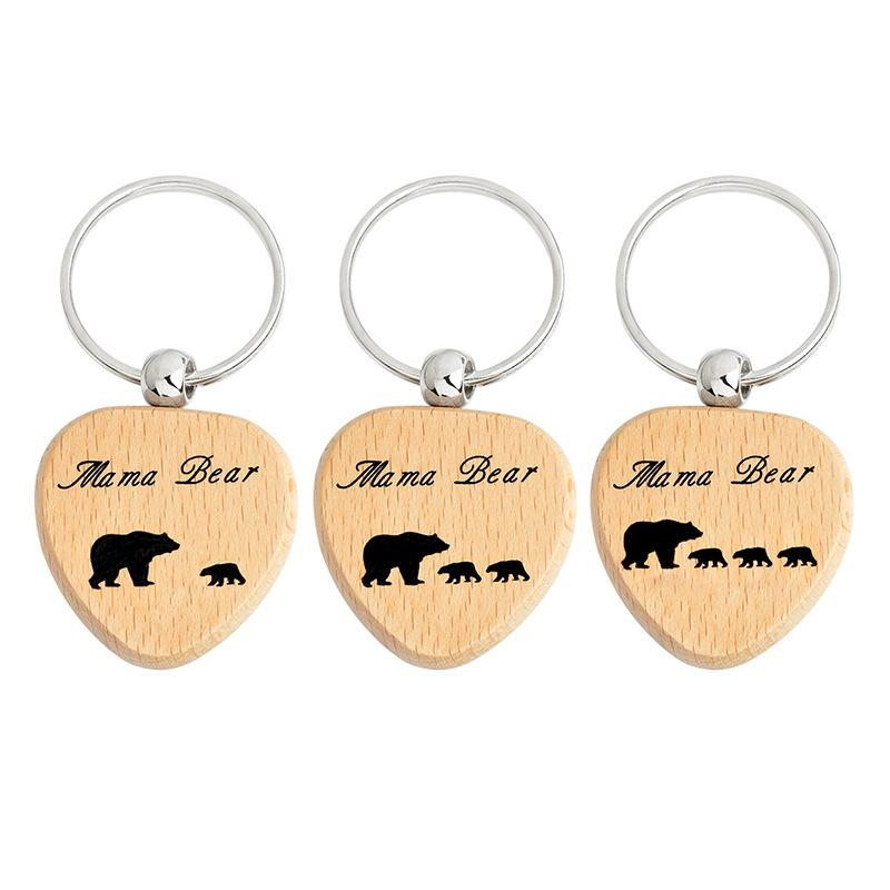 New Fashion Keychain Keyring DIY wood Heart Keychain Bear Pendant Jewelry for Your Mom /children Free Shipping