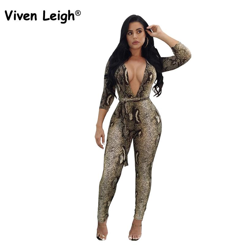 Viven Leigh New Fashion Sexy Deep V Neck Plunge Bodycon Jumpsuits Women Sexy Skinny Long Sleeve Print Club Party Romper 6 Styles
