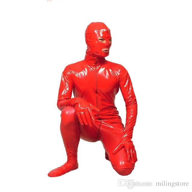 New Arrival Sexy Red Catsuit Fancy Dress Suit For Halloween Party Front Zipper Jumpsuit Bodysuit