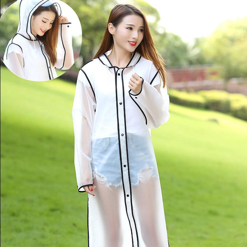 Women's raincoat transparent poncho hooded long EVA raincoat outdoor hiking summer outdoor portable