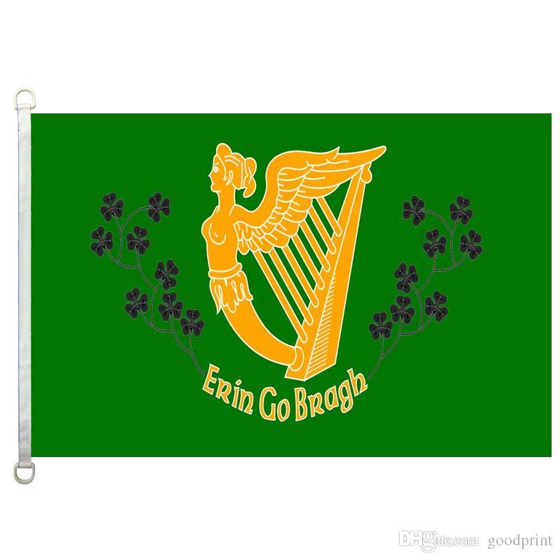 Erin_Go_Bragh_Banner Bandera Banner 3X5FT-90x150cm 100% Poliéster, 110gsm Bandera de tejido de punto de urdimbre para exteriores