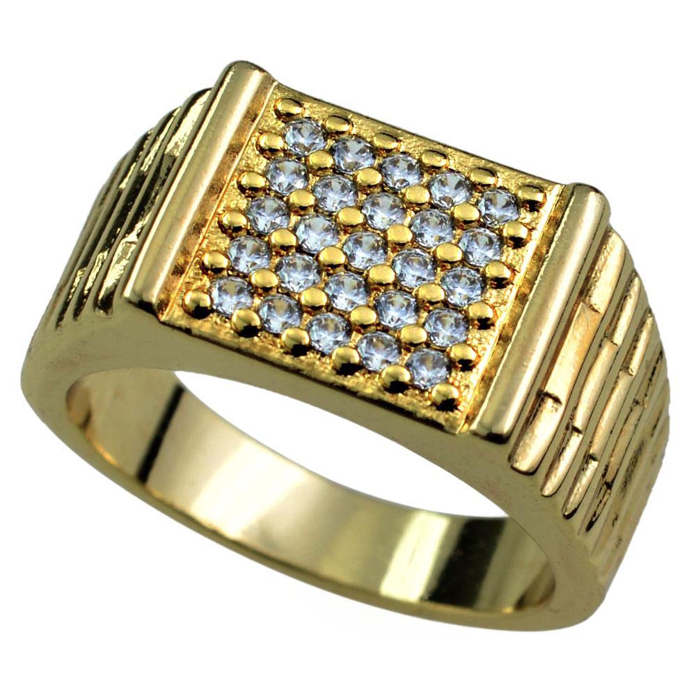 Misura 8-15 Jewellry Man's Sapphire 18K Anello oro giallo riempito r194