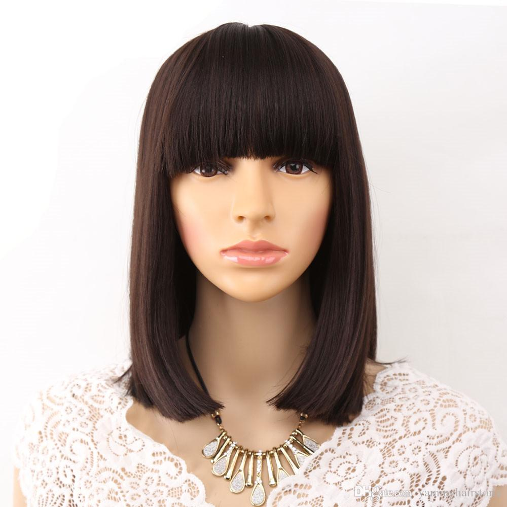 14 Inches Bob Wigs Straight Black Synthetic Wigs With Bangs For Women Medium Length Hair Bob Wig Heat Resistant Bobo Hairstyle Cosplay Wigs Drag Wigs