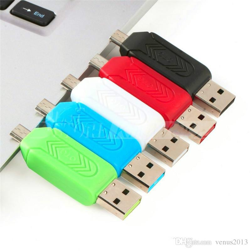 New 2 in 1 USB Male To Micro USB Dual Slot OTG Adapter With TF/SD Memory Card Reader For Android Smartphone Tablet