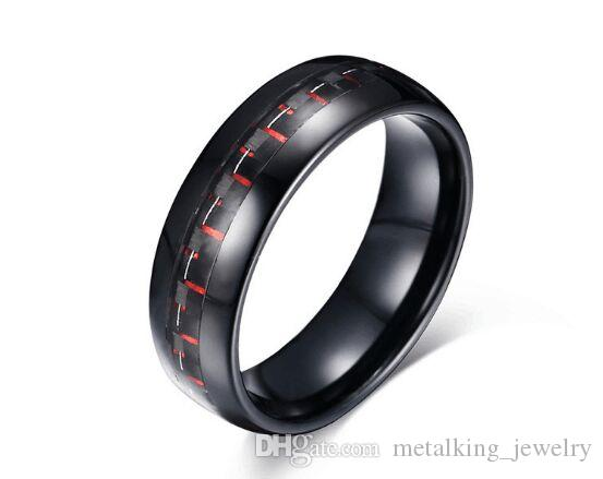 8mm Tungsten Weeding Band Black and Red Carbon Fiber Inlay Engagement Promise Rings Size 7 to 12