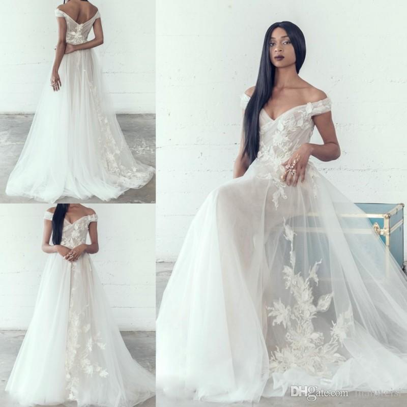 Adam Zohar 2019 vestidos de novia de la playa del hombro largo apliques de novia vestidos de novia barrer vestido de boda del tren