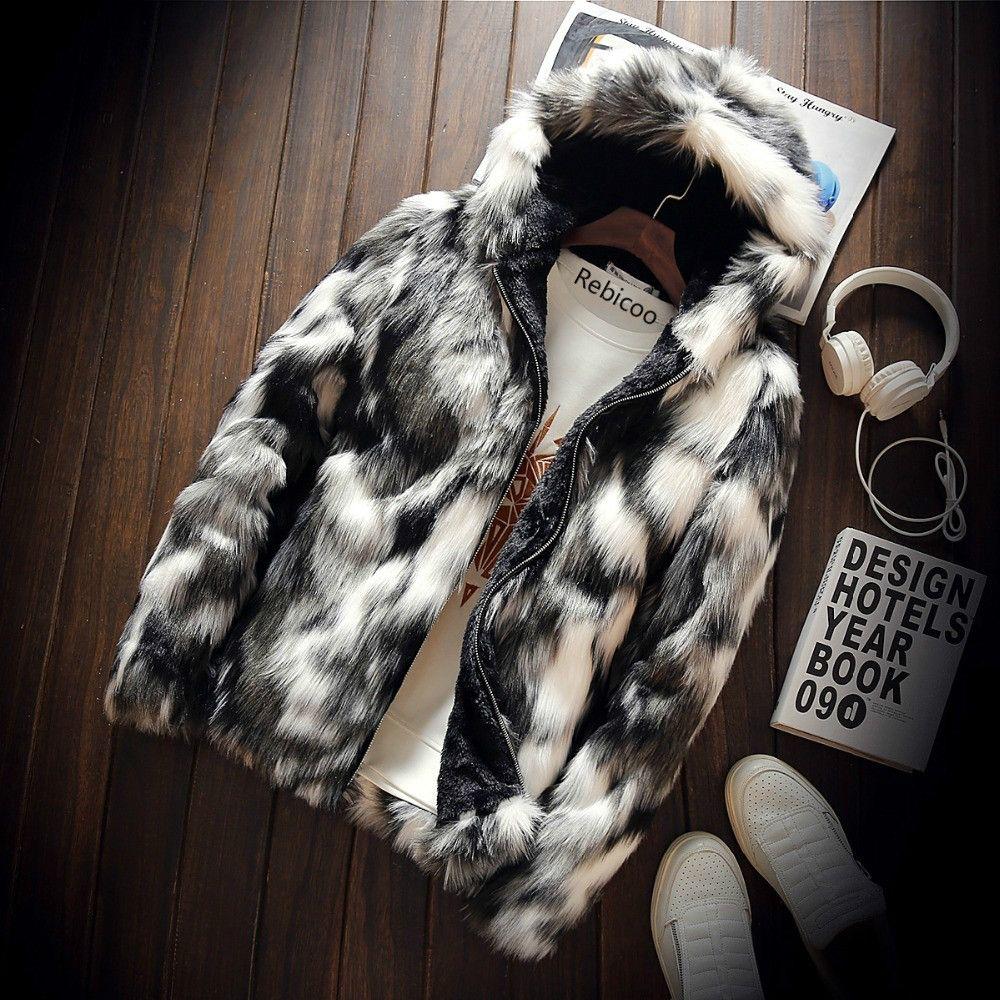 أزياء الشتاء معطف الفرو ملابس رجالية سميكة فو الفراء زيبر سترة مقنع دثار رجل هوديس معاطف ملابس الرجل دافئة كبيرة الحجم