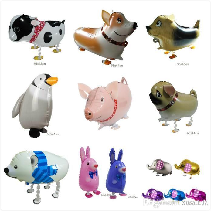 Walking Pet 10 Animals Mixed Elephant penguins Aluminum Foil Balloon Automatic Sealing Kids Balloon Toys Gift Birthday Party Supplies