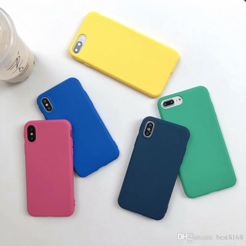 For Iphone XS MAX X 10 8 7 Plus 6 6S SE 5 5S Silicone Candy Bling Soft TPU Case Fashion Luxury Colorful Plain Cell Phone Skin Covers